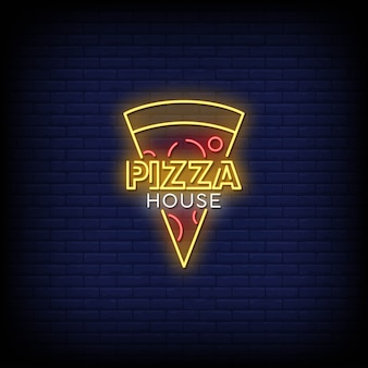 Pizza house neon signs style text