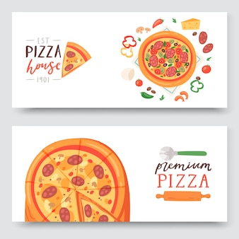 Pizza house with ingredients and different types of pizza slices banner set