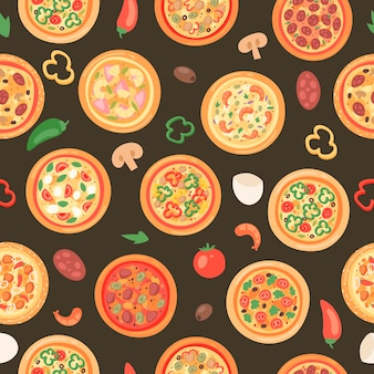 Pizza house with ingredients and different types seamless pattern