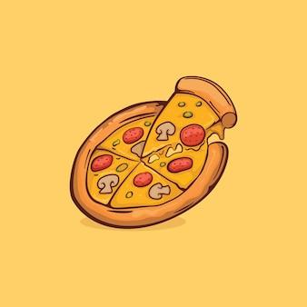 ピザアイコンは、アウトライン漫画のシンプルな色でベクトル図を分離しました