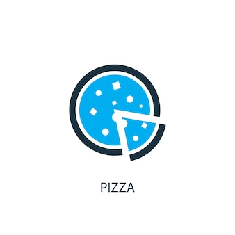 피자 아이콘입니다. 로고 요소 그림입니다. 2가지 컬러 컬렉션의 피자 심볼 디자인. 간단한 피자 개념입니다. 웹 및 모바일에서 사용할 수 있습니다.