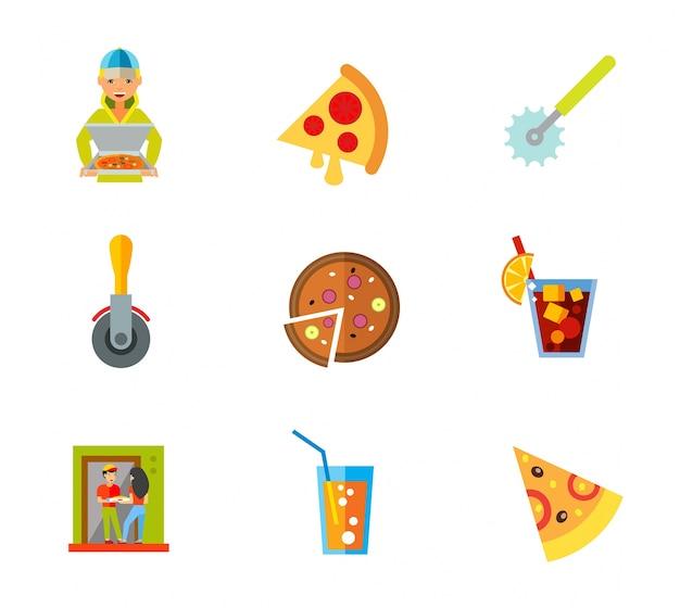 Set di icone della pizza