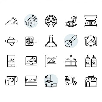 Pizza icon and symbol set in outline