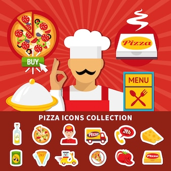 Pizza icons emoji collection
