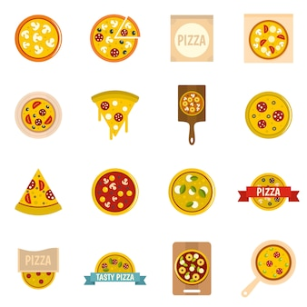 Pizza icons set in flat style