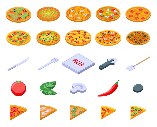 Pizza icons set, isometric style