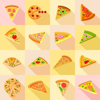 Pizza icons set.