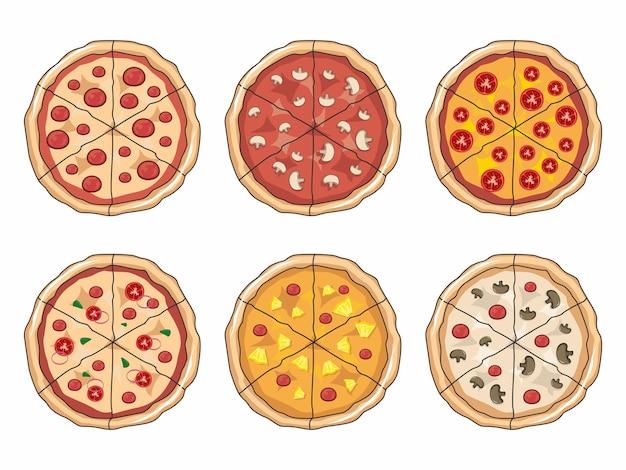 Пицца иллюстрации мультфильм набор