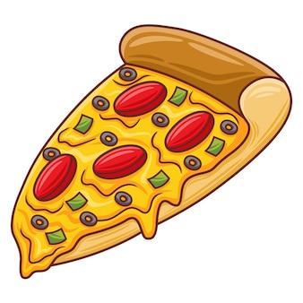 Иллюстрация пиццы в современном стиле плоского дизайна
