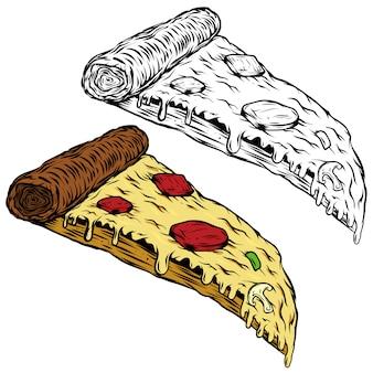白い背景の上のピザのイラスト。ロゴ、ラベル、エンブレム、記号、メニューの要素。図