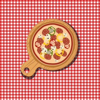 Pizza illustration on red and white background