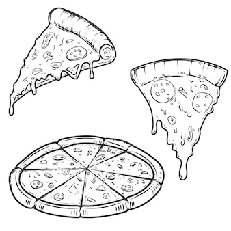 Pizza illustrations  on white background.  elements for logo, label, emblem, sign, menu.  illustration.