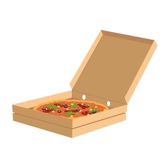 Пицца в коробке полу плоской цветовой векторной иллюстрации rgb. нездоровая закуска с ломтиками салями в упаковке. заказ итальянского ресторана. служба доставки фаст-фуда изолированный мультяшный объект на белом фоне
