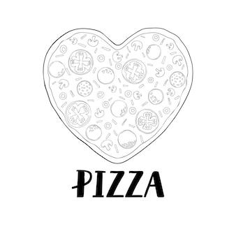 발렌타인 데이를 위한 하트 모양의 피자. 피자의 손으로 그린 그림입니다. 벡터 스케치입니다. 빈티지 패턴입니다.