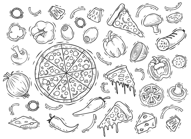 Ингредиент для пиццы doodle
