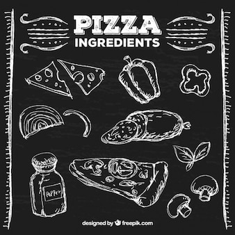 Pizza ingredients on the board