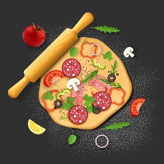 피자 재료 반죽 살라미 소시지 올리브 토마토 고추 채소 피자 레스토랑 메뉴 레시피...