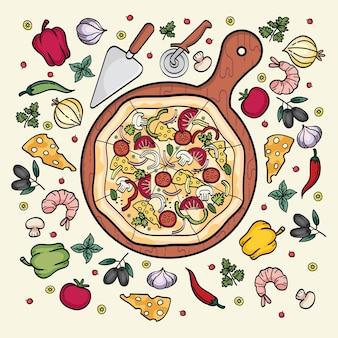 ピザ材料要素セット