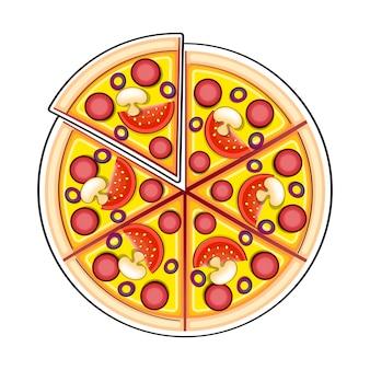 낙서 스타일의 피자 재료