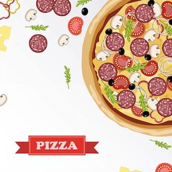 서명 된 재료와 함께 칠판에 피자 재료 부분.