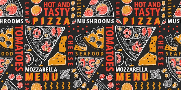 Pizza and ingredients seamless pattern. italian food hand drawn