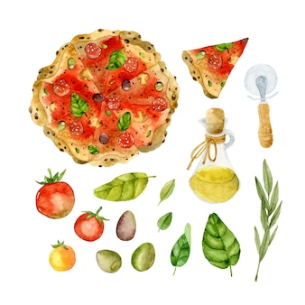 Пицца изолированные элементы акварель набор
