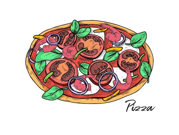 白で隔離のピザ