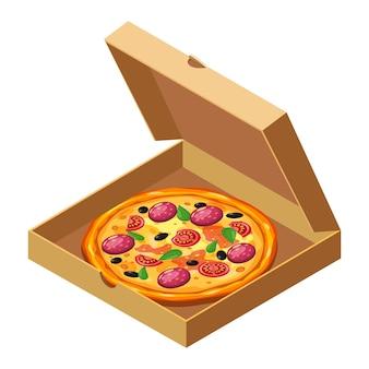 Пицца изометрии в открытой картонной коробке упаковка шаблон доставки плоский дизайн