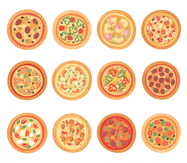 Pizza  italian food with cheese and tomato in pizzeria and baked pie with sausages in pizzahouse in italy illustration set  on white background