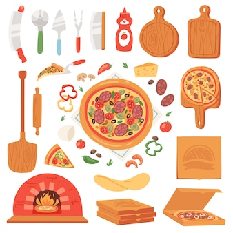 Pizza  italian food with cheese and tomato in pizzeria or pizzahouse illustration set of baked pie from pizzaoven in italy