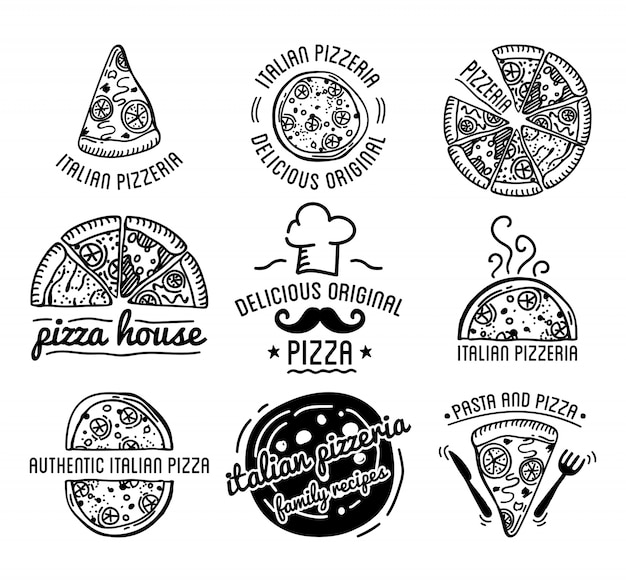 Pizza label design typographic vector set.