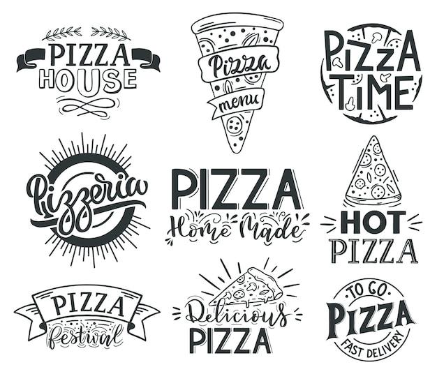 Цитаты надписи пиццы. итальянская пицца, цитаты с надписью фаст-фуд, этикетки для пиццы