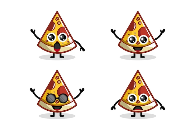 Пицца логотип дизайн персонаж милый