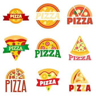 Pizza logo set