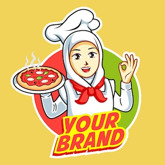 Pizza logo with beautiful woman chef with grilled chicken on her hand.