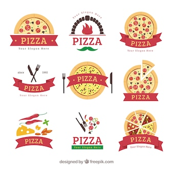 Pizza logos with ribbons