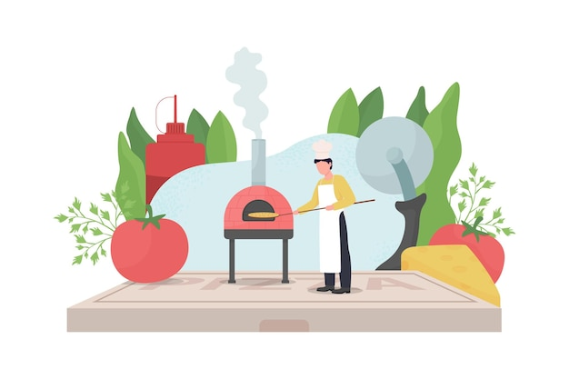 Pizza maker flat concept illustration