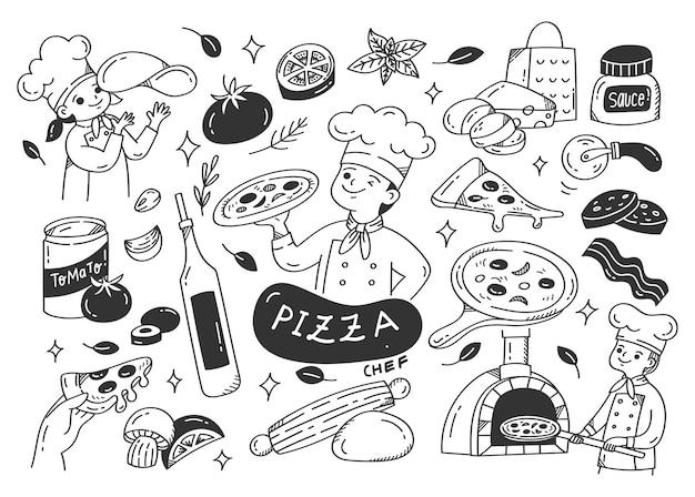 Производитель пиццы с каракули ингредиенты пиццы