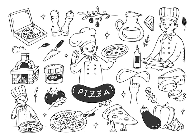 Pizza maker with pizza ingredients doodle