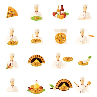 Pizza makers flat icons set