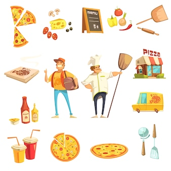 Pizza making decorative icons set