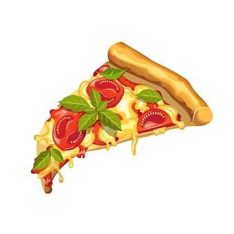 마르게리타 피자. 토마토, 바질, 모짜렐라 치즈 피자. 흰색 배경에 피자 조각입니다.