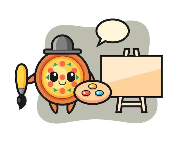 画家としてのピザマスコット