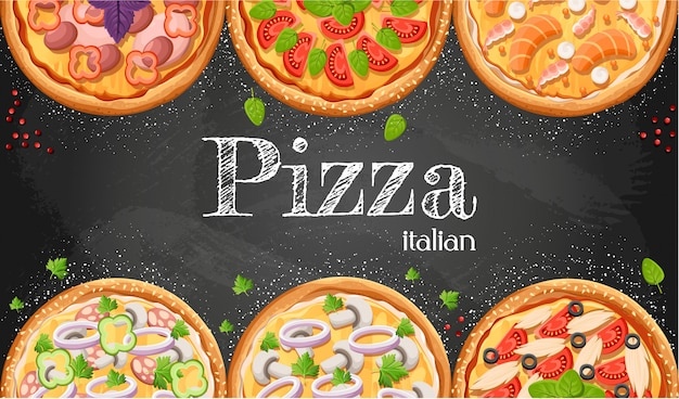 Pizza menu chalkboard cartoon background with fresh ingredients  illustration pizzeria flyer  background. two horizontal banners with ingredients text on wooden background and blackboard.