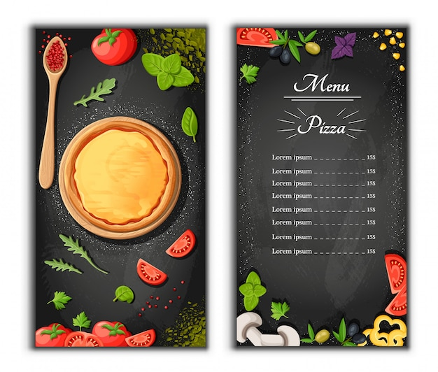 Pizza menu chalkboard cartoon background with fresh ingredients  illustration pizzeria flyer  background. two vertical banners with ingredients text on wooden background and blackboard.