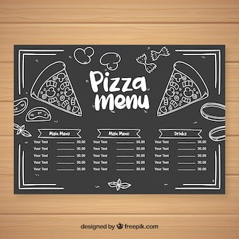 Pizza menu in chalk style
