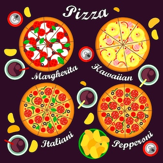 Pizza menu including pizza varieties italian, hawaiian, margarita and pepperoni pizza.
