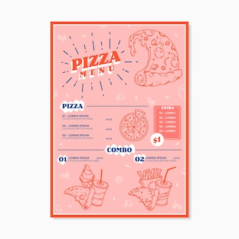 Pizza menu template concept