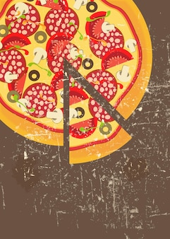 Pizza menu template in vintage retro grunge style vector illustration
