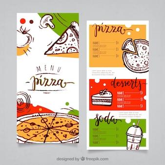 Modello di menu della pizza Vettore gratuito